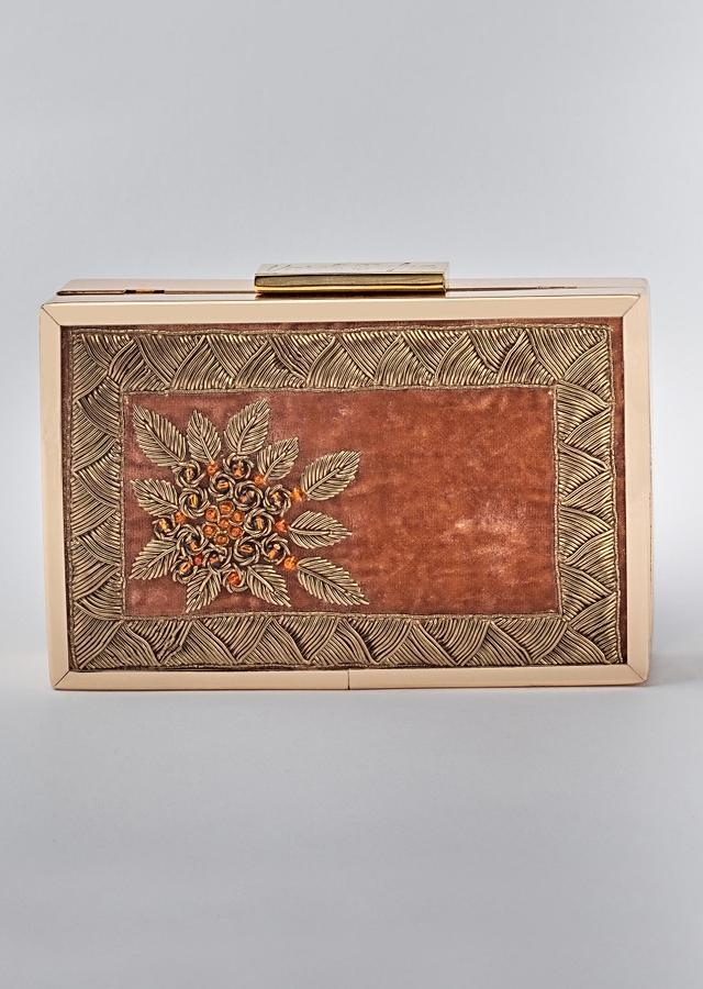 Rust Orange Box Clutch In Velvet Heavily Embroidered With Zardozi And Pearls By Vareli Bafna