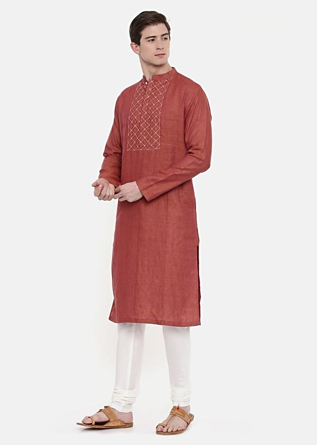 Rust Orange Kurta And Churidar Set In Linen With Hand Embroidered Checks On The Yoke By Mayank Modi