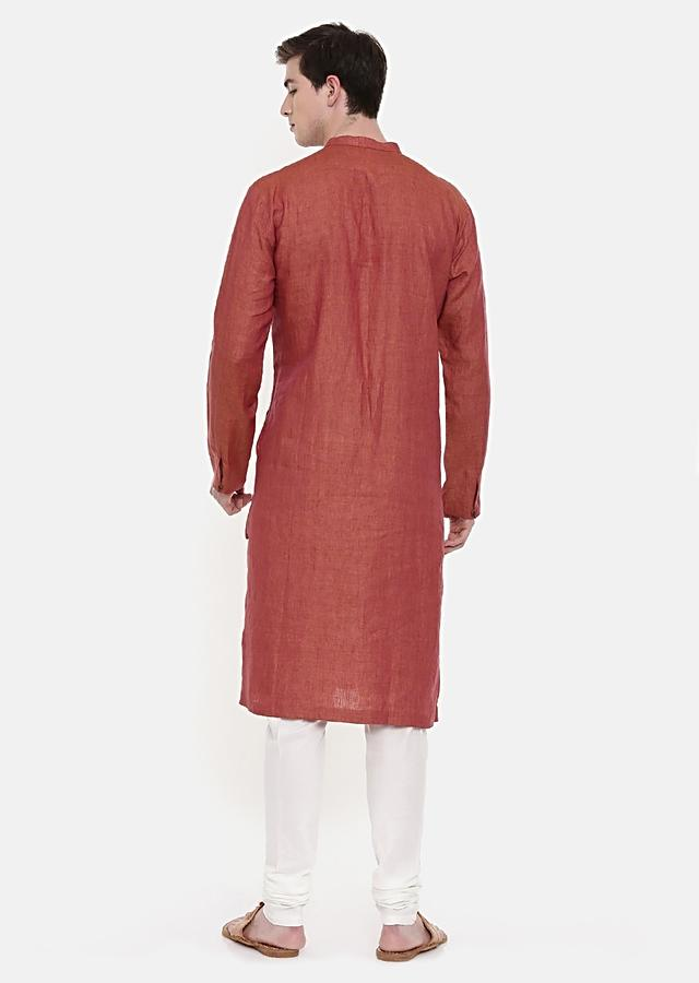 Rust Orange Kurta And Churidar Set In Linen With Self Toned Textured Hand Embroidery By Mayank Modi