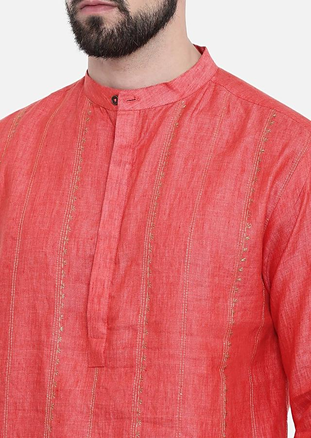 Rust Orange Kurta Set In Linen With Golden Thread Embroidery And Running Stitches By Mayank Modi