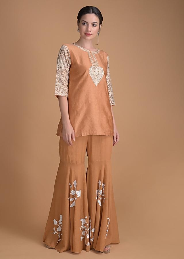 Rust Orange Sharara Suit With Thread Embroidery Work Online - Kalki Fashion