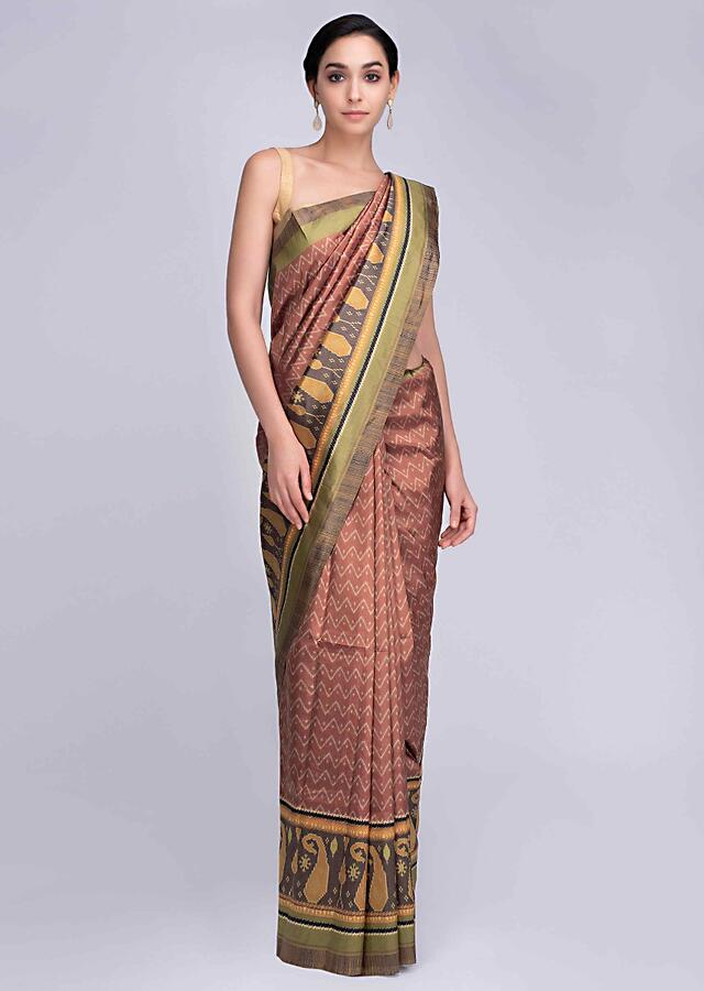 Rust silk saree in paisley and zig zag printed motif only on Kalki