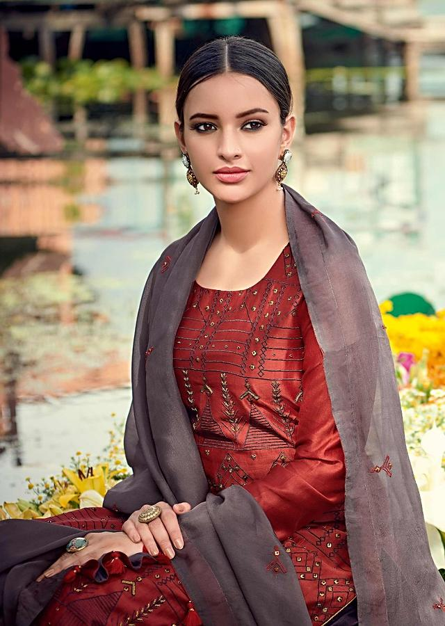 Rust Straight Cut Suit In Cotton With Resham And Zardozi Embroidered Tribal Motifs Online - Kalki Fashion