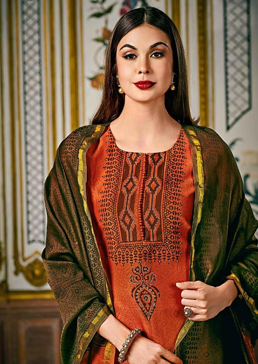 b23df48c30e Rust straight suit in silk with caramel brown dupatta