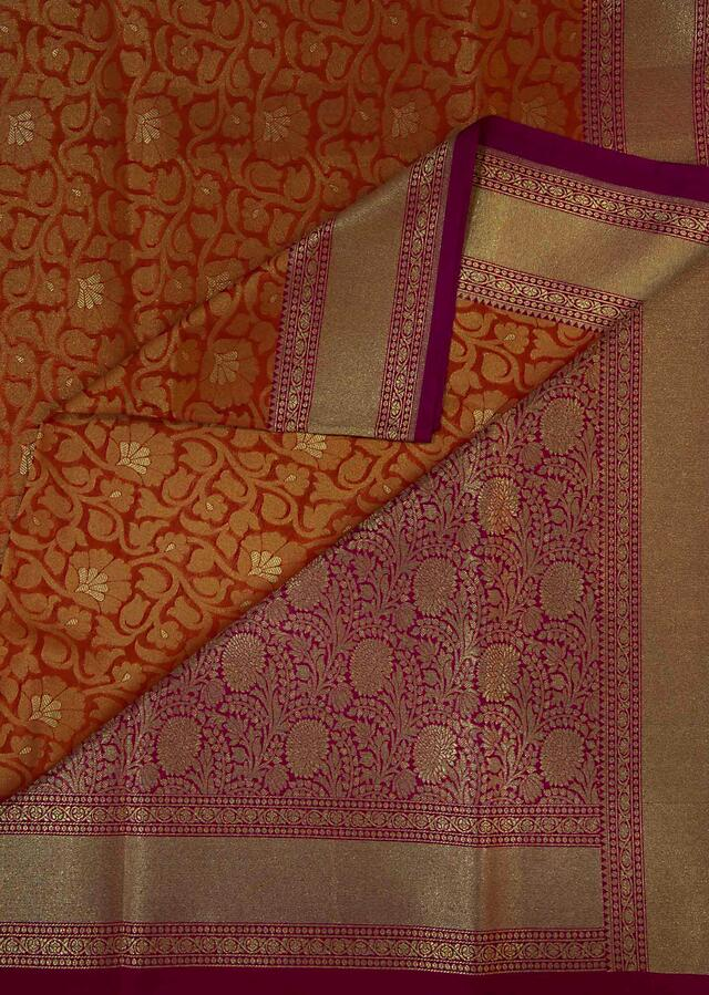 Rust And Mustard Saree In Silk With Contrast Border Online - Kalki Fashion