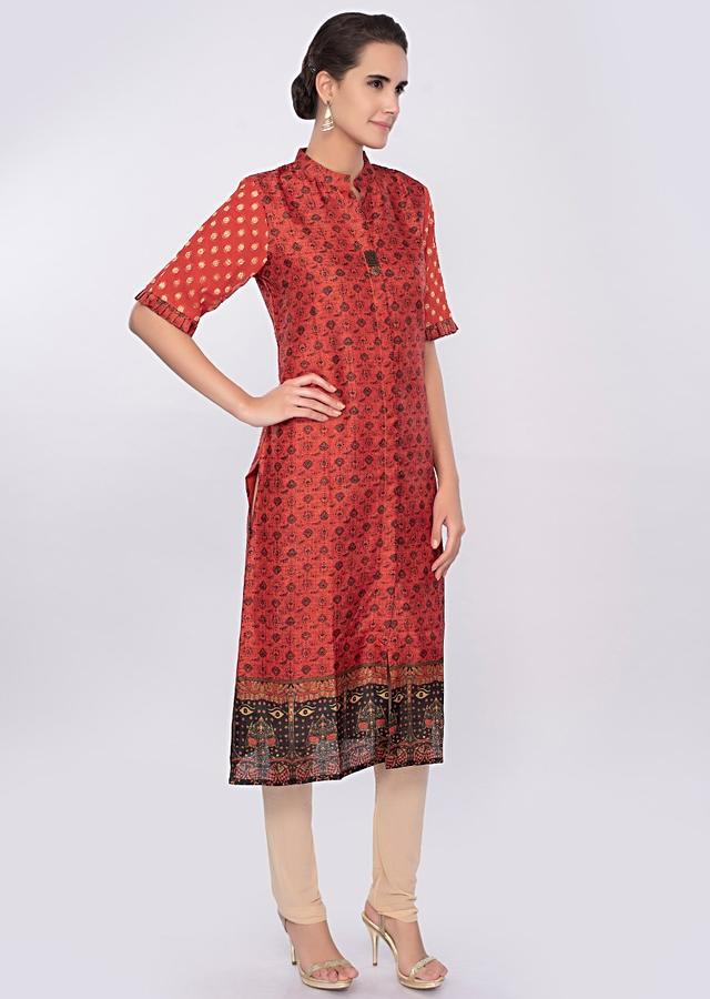 Rustic Orange Kurti In Cotton Silk Online - Kalki Fashion