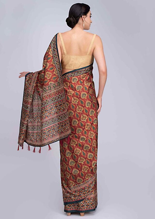 Rustic Red Saree With Patola Printed In Abstract Motif Online - Kalki Fashion