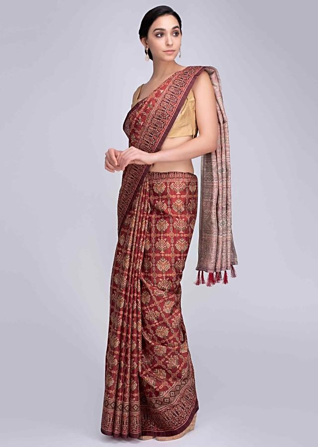 Rustic Red Saree In Patola Printed With Tassels On The Pallu Online - Kalki Fashion
