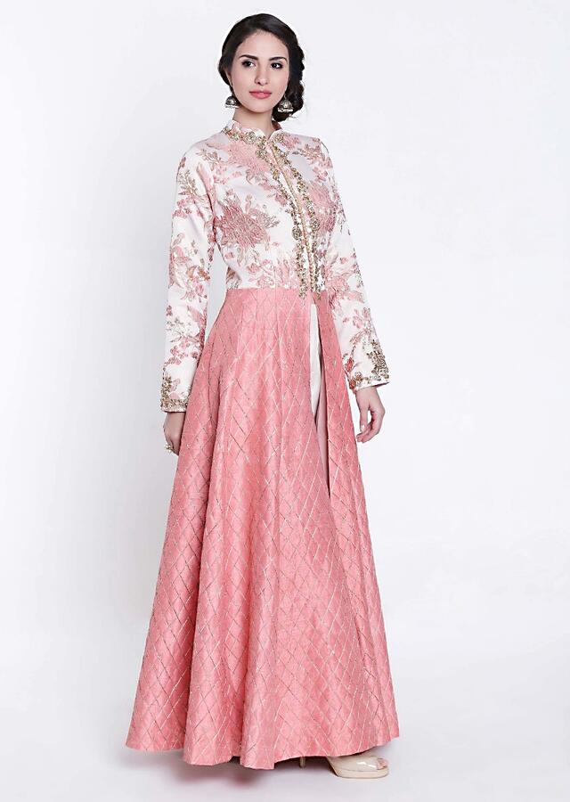 Sachet pink and cream A line suit with embroidered placket only on Kalki