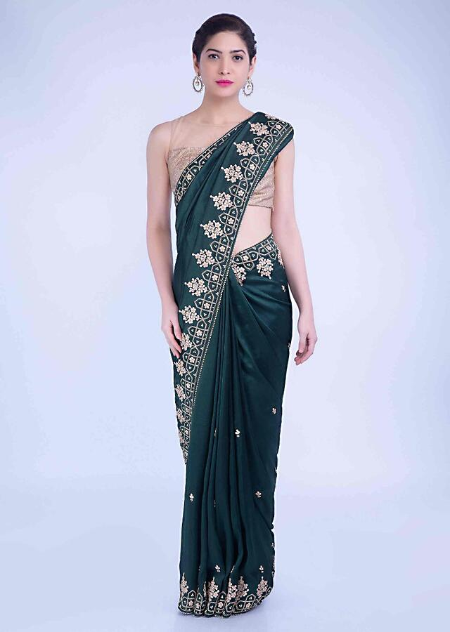 Sacramento Saree In Green Crepe Silk With Floral Embroidered Border Online - Kalki Fashion