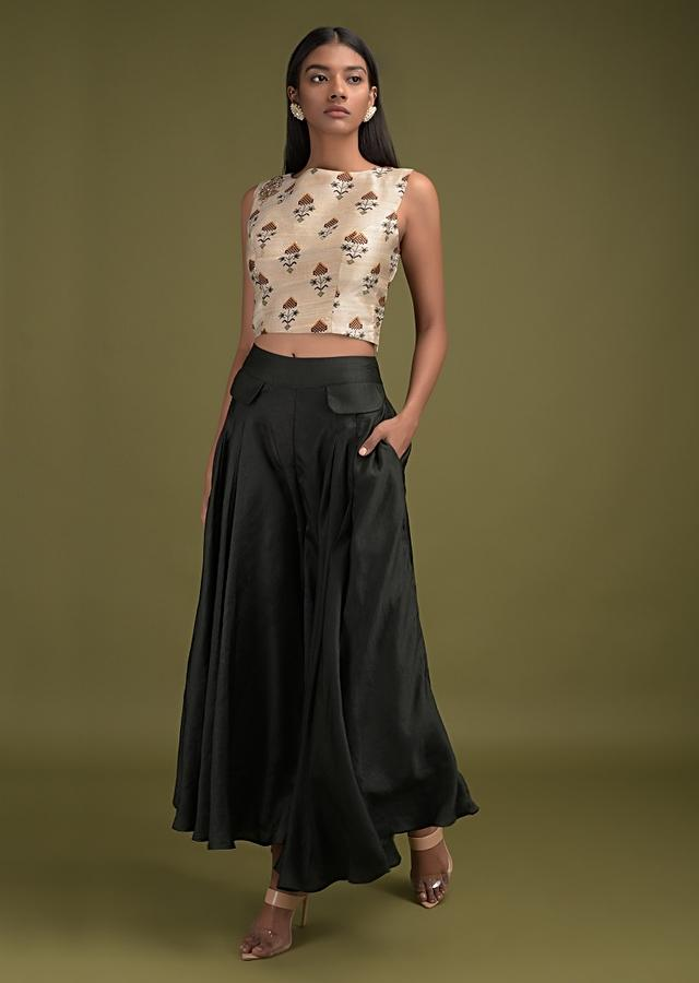 Sacramento Green Flared Palazzo Suit With Pre-Stitched Ruffle Drape And Sand Beige Crop Top Online - Kalki Fashion