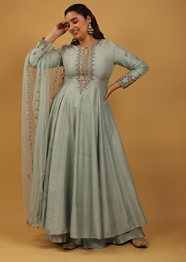 Sage Green Anarkali And Palazzo Suit In Raw Silk With Multi Colored Sequins And Cut Dana Embroidery On The Sleeves And Placket Online - Kalki Fashion