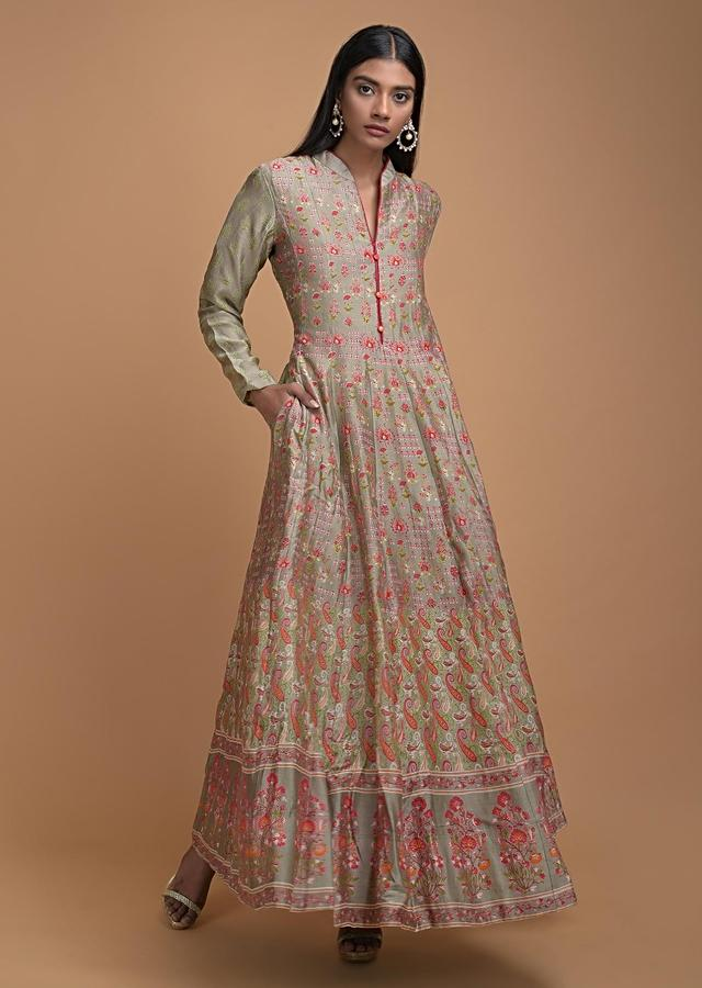 Sage Green Anarkali Dress In Cotton With Ethnic Print All Over Online - Kalki Fashion