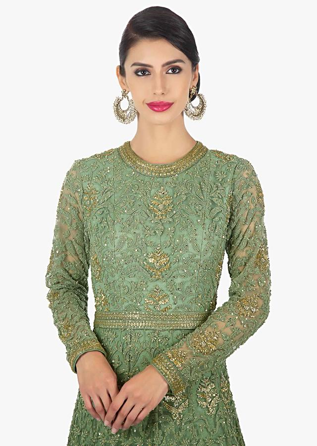 Sage Green Anarkali Gown In Thread Work Along With Cut Dana And Sequins Butti Online - Kalki Fashion