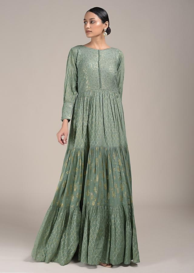 Sage Green Anarkali Suit With Foil Printed Moroccan Jaal And Buttis Along Width Thread Work Online - Kalki Fashion