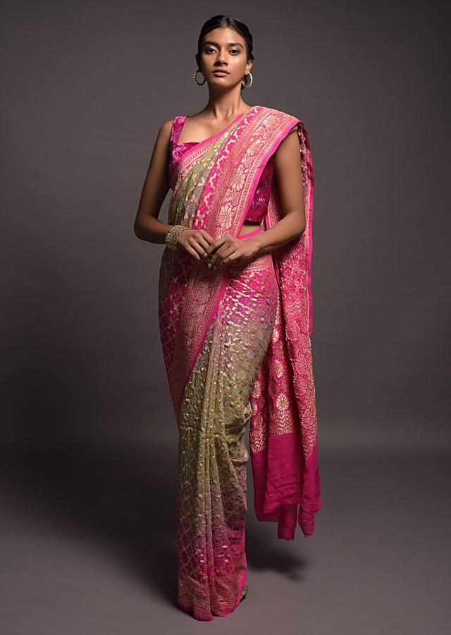 Sage Green And Fuchsia Shaded Banarasi Saree In Georgette With Bandhani Print And Weaved Moroccan Jaal Online - Kalki Fashion