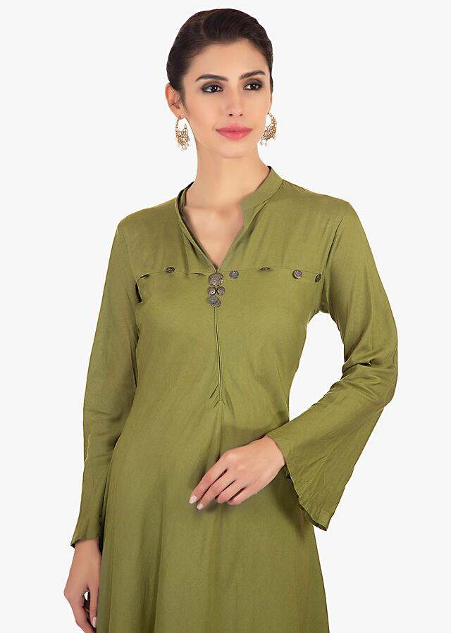 Sage Green High Low Suit In Cotton Paired With Printed Dupatta Online - Kalki Fashion