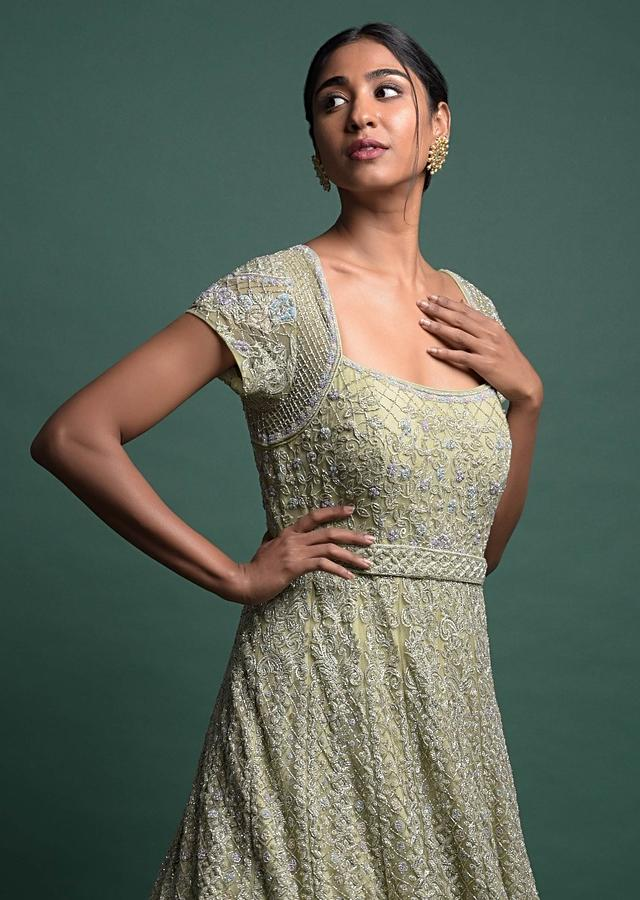Sage Green Gown In Net With Thread And Cut Dana Embroidered Kalidar Pattern Online - Kalki Fashion