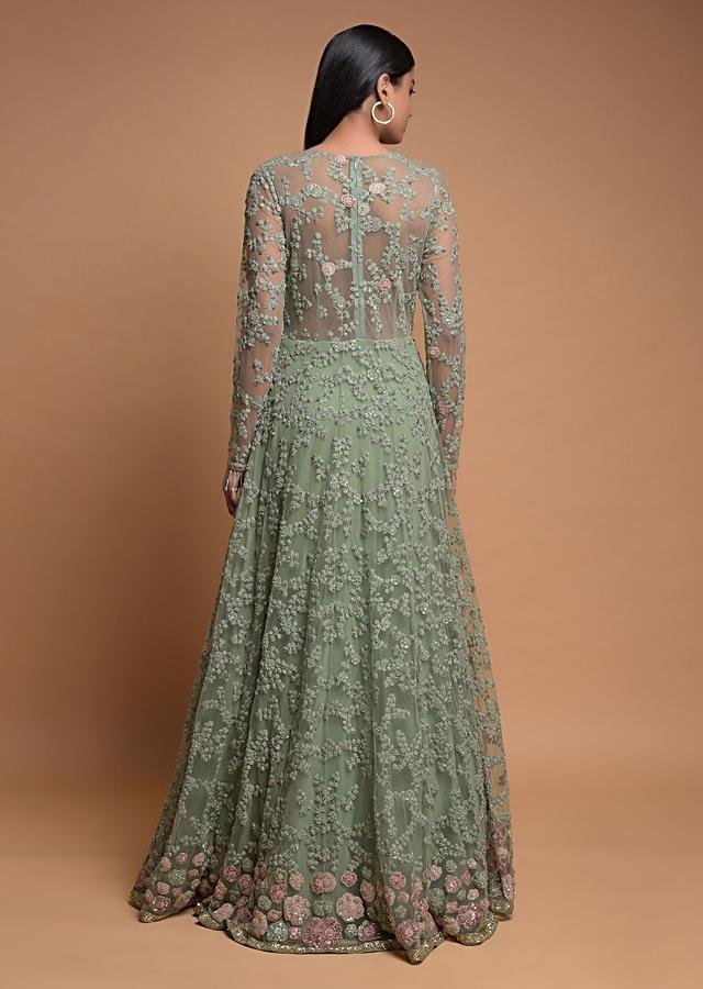 Sage Green Indowestern Gown In Net With Embroidered Floral Jaal Online - Kalki Fashion