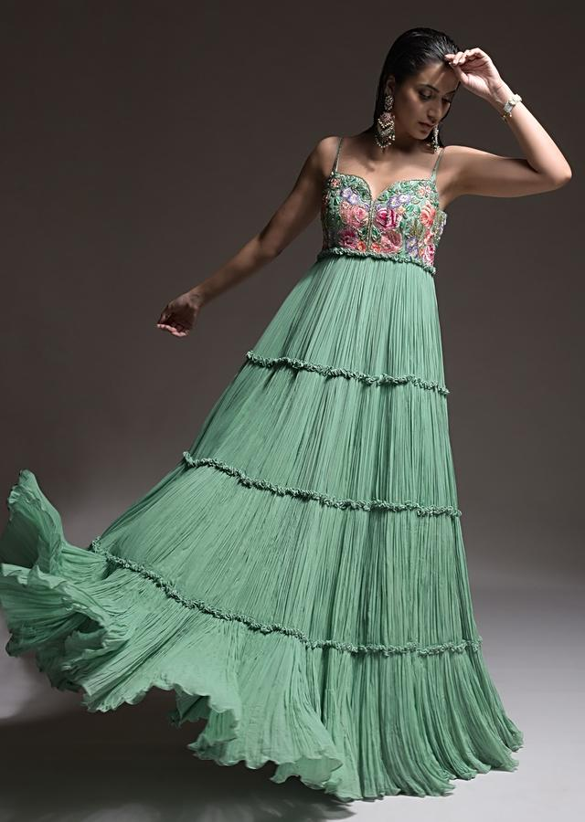 Sage Green Indowestern Suit In Georgette With Vibrant Resham Embroidered Summer Blossoms On The Bodice Online - Kalki Fashion