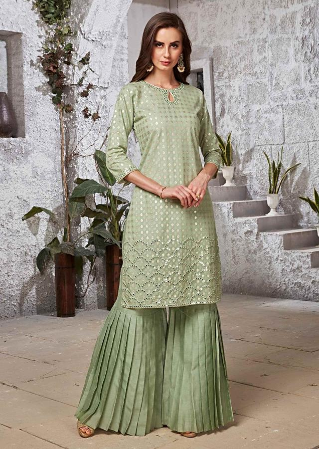 Sage Green Suit In Jacquard Silk With Pleated Sharara Bottoms Online - Kalki Fashion