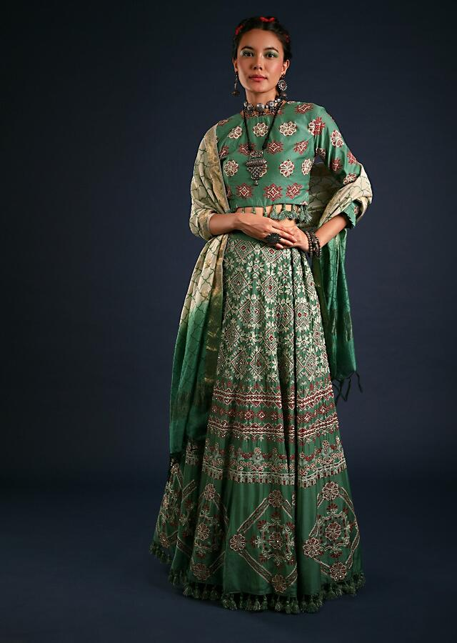 Sage Green Lehenga In Cotton Silk With Batik Print In Tribal And Floral Motifs Along With Cream Thread Hand Work Online - Kalki Fashion