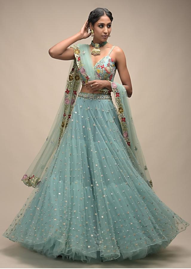 Sage Green Lehenga In Net With Flower Sequin Buttis And Resham Embroidered Crop Top Online - Kalki Fashion