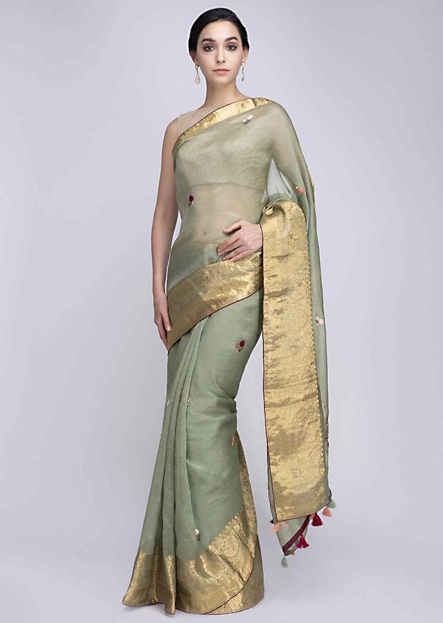 Sage Green Saree In Organza With Hand Embroidered Floral Butti All Over Online - Kalki Fashion