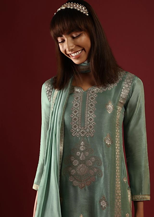 Sage Green Palazzo Suit In Silk With Brocade Buttis And Ethnic Motif Online - Kalki Fashion