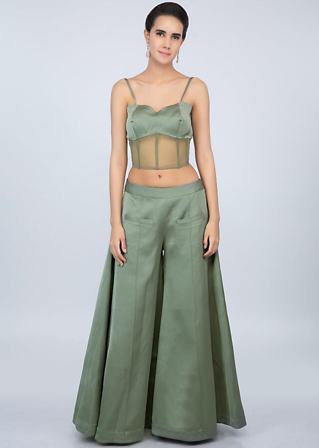 Sage green palazzo with corset crop top and embroidered jacket only on kalki