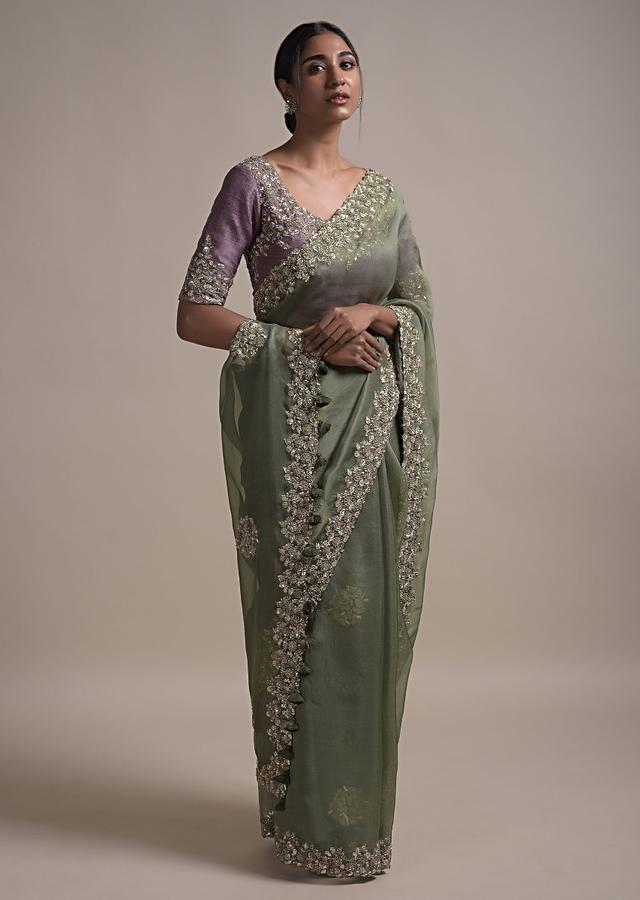 Sage Green Saree In Organza Silk With Sequins And Zardozi Embroidery In Floral Pattern Online - Kalki Fashion