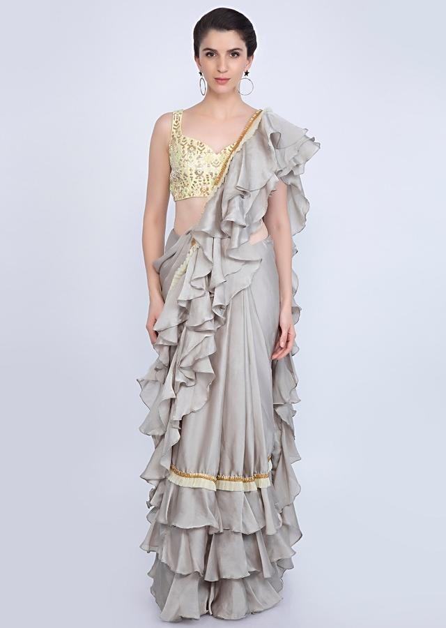 Sage Grey Saree In Satin Silk With Ready Pleats And Ruffled Layers Online - Kalki Fashion