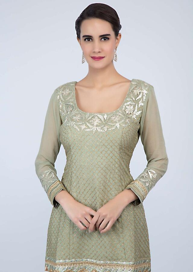 Sage Green Sharara Suit Set With Lace Embroidery And Butti Online - Kalki Fashion