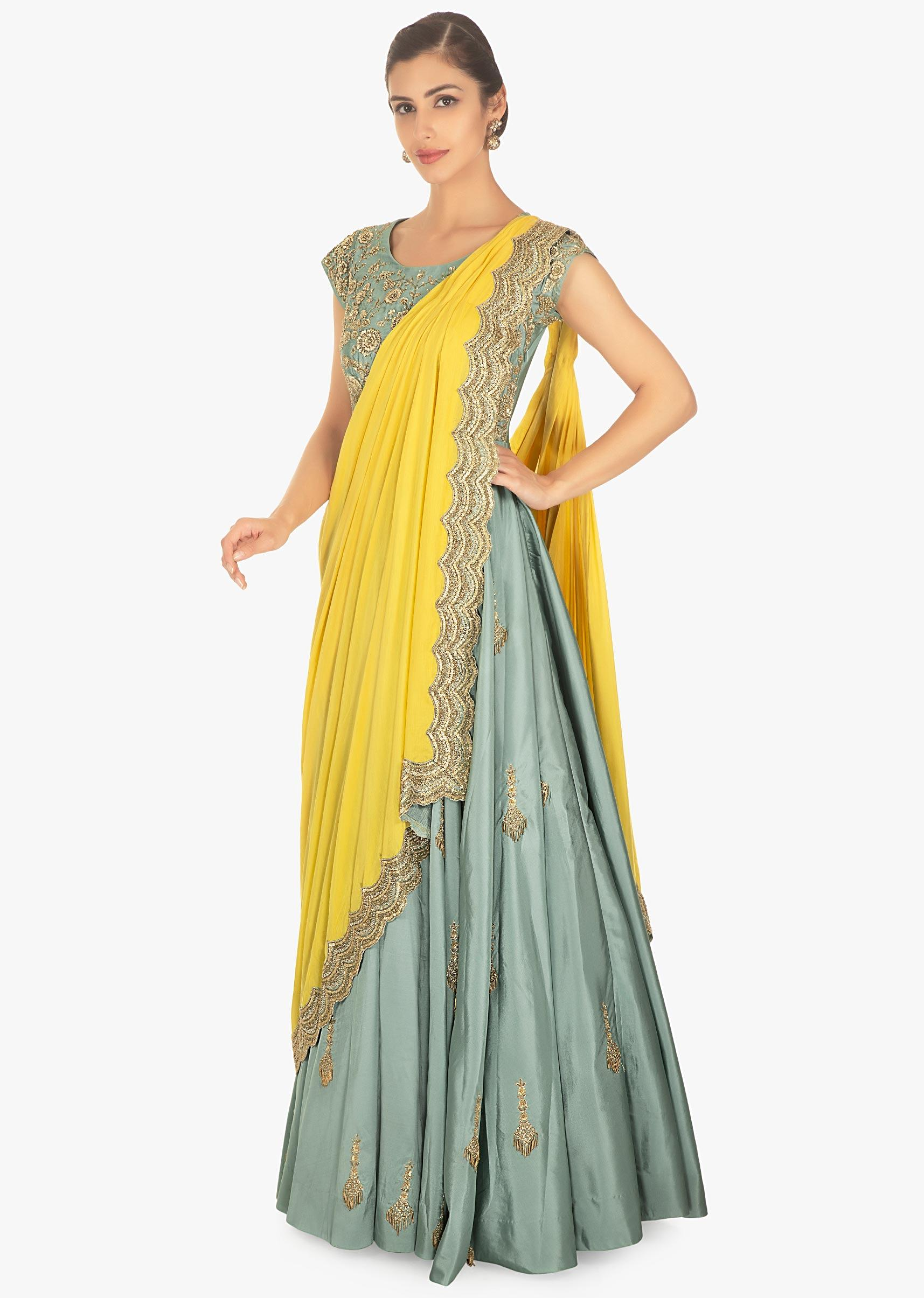 12fc31a9eb Sage green silk anarkali dress with a yellow cotton plated dupatta only on  KalkiMore Detail