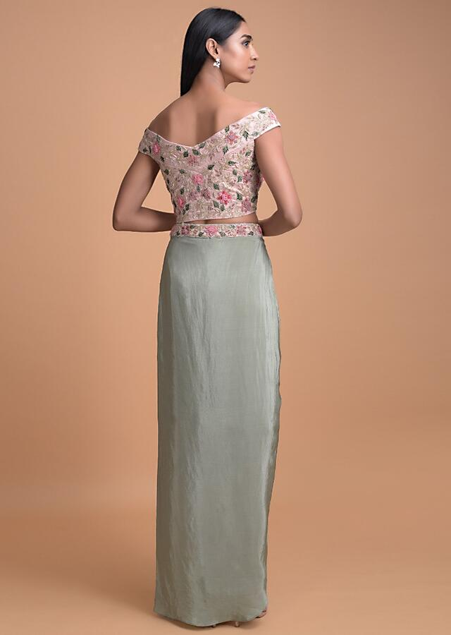 Sage Green Skirt With A Cascade Drape And Powder Pink Off Shoulder Crop Top Online - Kalki Fashion
