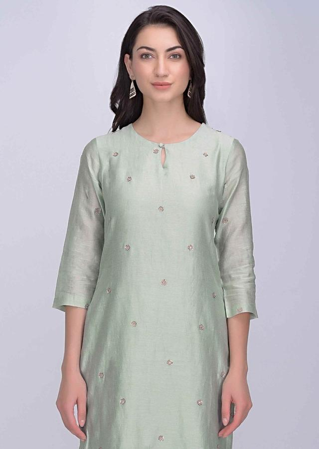 Sage Green Straight Cut Sharara Suit In Cotton Silk Online - Kalki Fashion