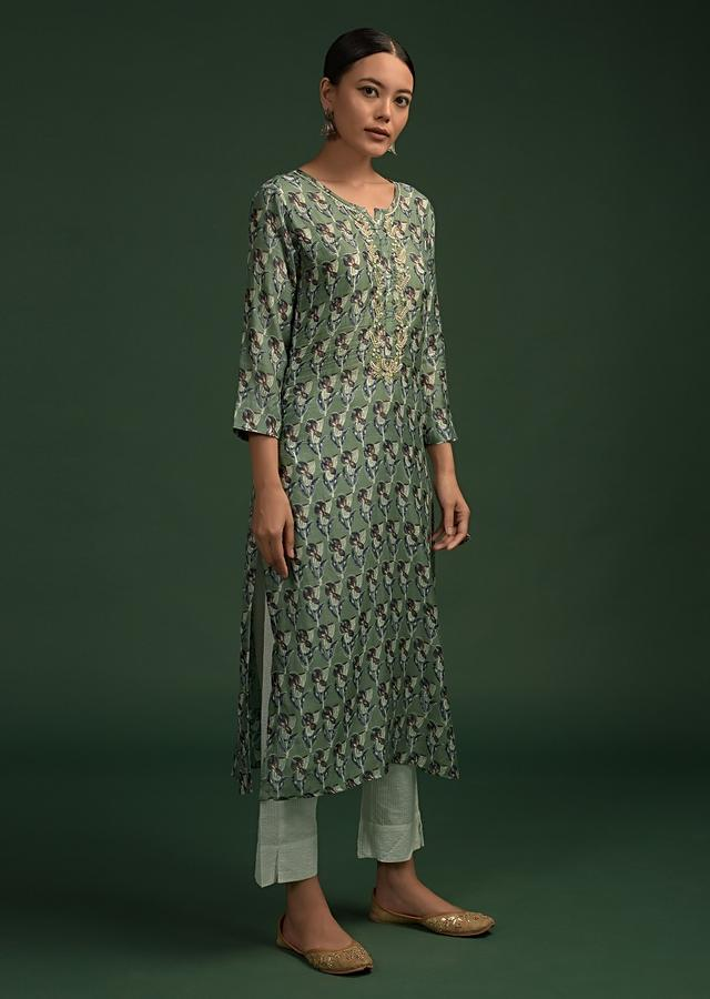 Sage Green Straight Cut Kurti In Cotton With Printed Floral Buttis And Moti Work On The Yoke Online - Kalki Fashion
