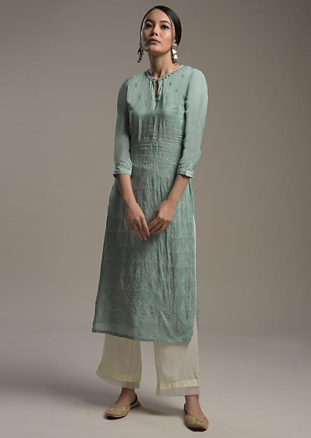 Sage Green Straight Cut Suit In Crushed Crepe With Bandhani Print And Sequin Accents Online - Kalki Fashion