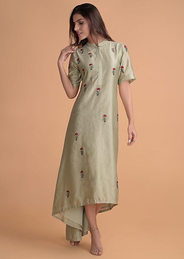 Sage Green Tunic In Cotton With Embroidered Buttis And High Low Hem Online - Kalki Fashion