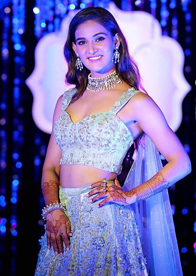 Mukti Mohan in Kalki Aviary blue 3D embroidered lehenga with matching blouse designed with attached cape