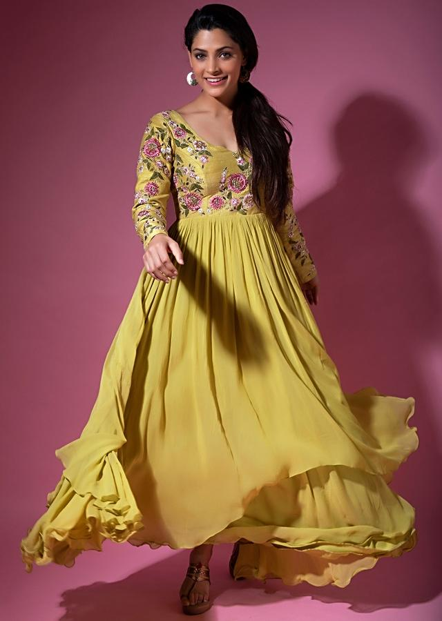 Saiyami Kher in Kalki Citrus Green Layered Anarkali In Georgette With A Contrasting Powder Pink Net Dupatta