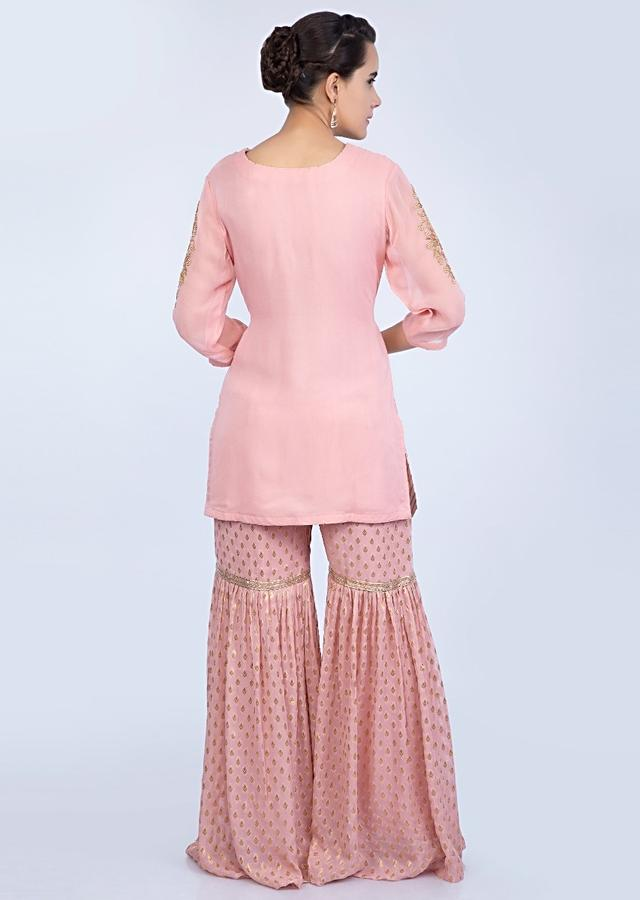 Salmon Peach Sharara Suit Set With Floral Embroidery And Butti Online - Kalki Fashion