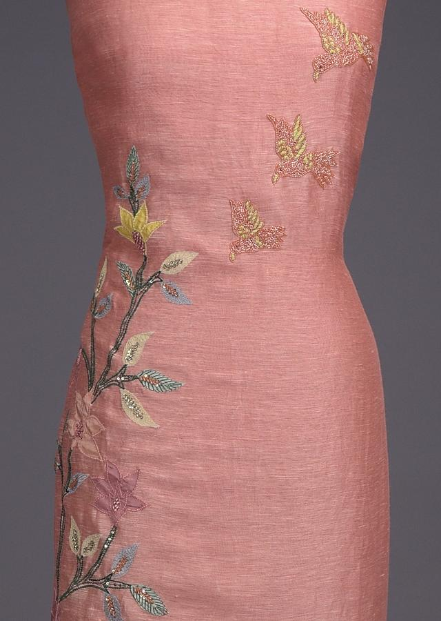 Salmon Peach Unstitched Suit In Tussar Silk With Embroidered Bird And Floral Motifs Online - Kalki Fashion