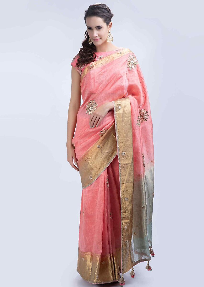 127429ed2a657 Salmon pink linen saree with gotta embroidered butti only on Kalki