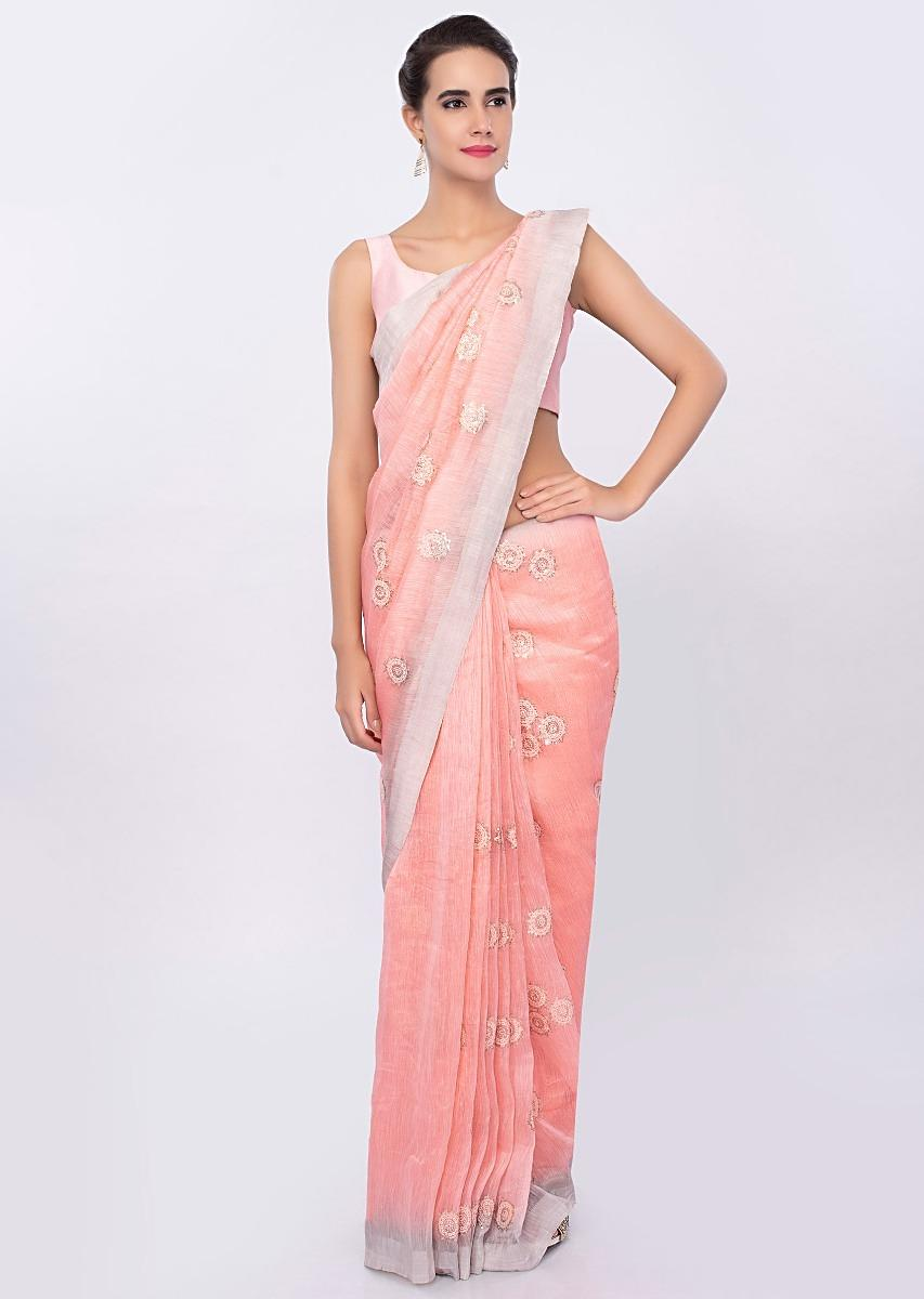 a1561ddcd7551 Salmon pink Linen saree with self thread embroidered butti only on KalkiMore  Detail