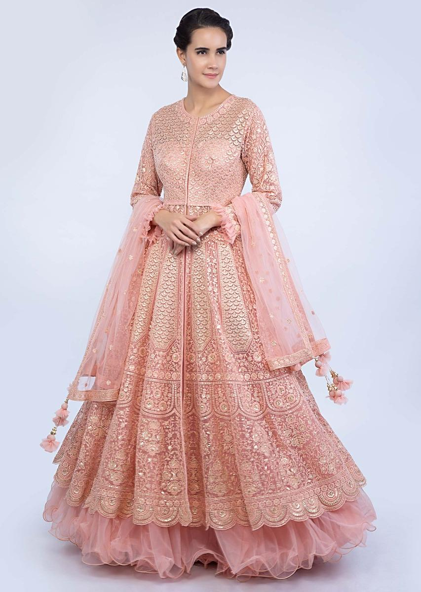 0db586933a06cd Salmon pink net jacket lehenga set in floral and scale embroidered  alternate kali only on KalkiMore Detail
