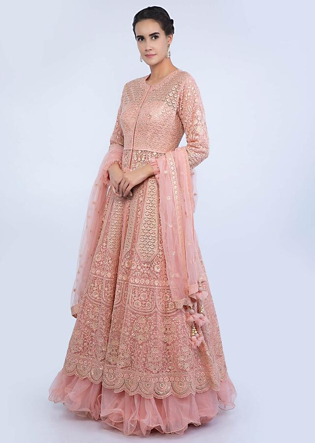 Salmon Pink Jacket Lehenga Set In Net With Floral And Scale Embroidered Alternate Kali Online - Kalki Fashion