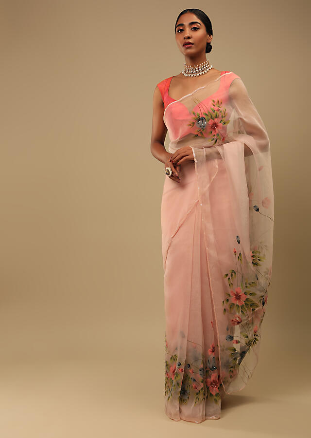 Salmon Pink Saree In Organza With Floral Print On The Border And Pallu Along With Sequin Highlights Online - Kalki Fashion