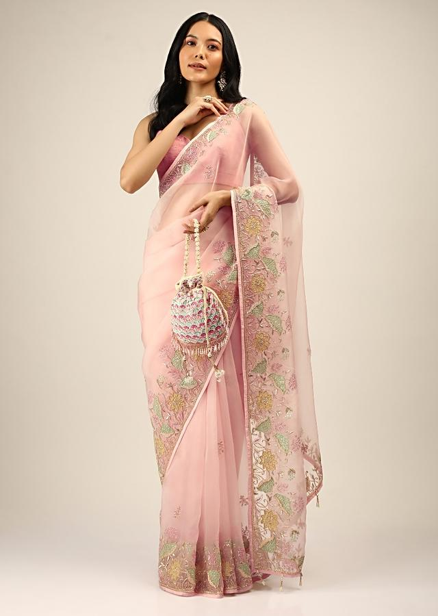 Salmon Pink Saree In Organza With Multi Colored Applique Flowers And Cut Dana Accents Online - Kalki Fashion