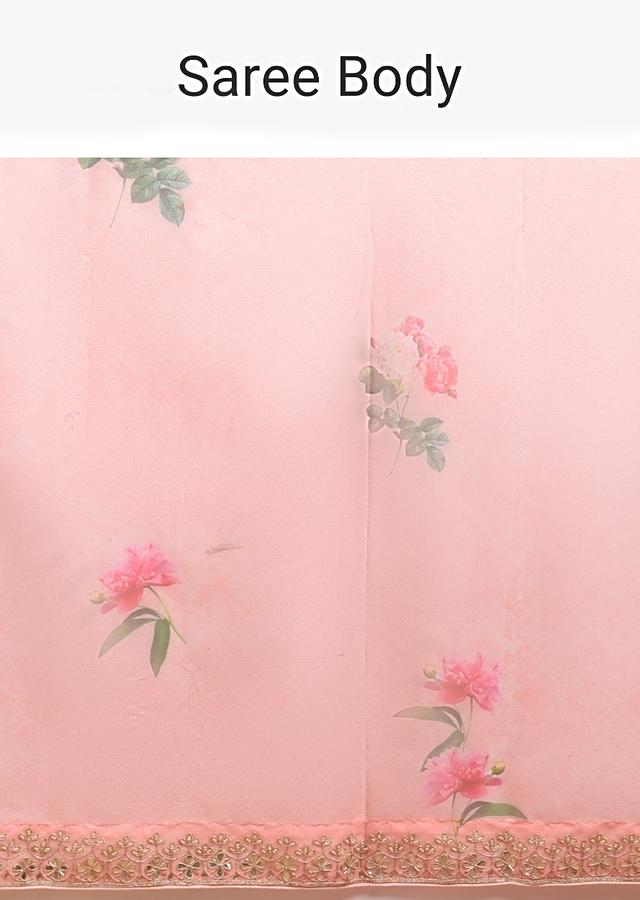 Salmon Pink Saree In Organza With Printed Floral Motifs And Gotta Patti Embroidered Border Online - Kalki Fashion